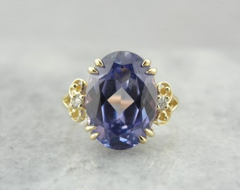 The Color Change Evelyn! Synthetic Alexandrite Cocktail Ring in Gold from the Elizabeth Henry Collection  RP4PT6-N