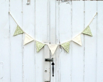 Green and cream damask fabric pennant banner bunting