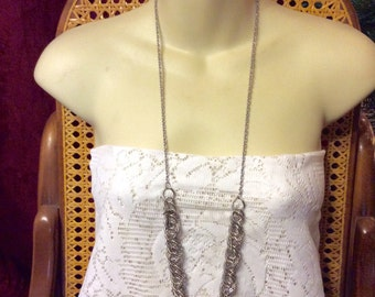 Vintage 1980's designer signed AEO multiple chains and links necklace.