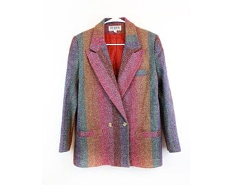 Vintage 80s Striped Wool Blazer S/M