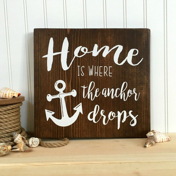 Home is where the anchor drops rustic wall art home decor for Anchor decoration for the home