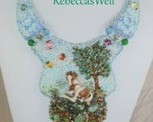 Morning Meadow- a bead embroidered necklace featuring a Laura Mears colt