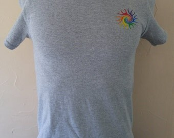 Rainbow Swril Embroidered T-Shirt - Heather Grey