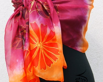 Long Handpainted High Quality Silk Scarf with hungarian motives