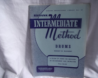 VINTAGE Rubank Drum Book,Intermediate DRUM Instruction Book,Music Book,Band,Drum Instructional,Intermediate Drum,Marching Band Music
