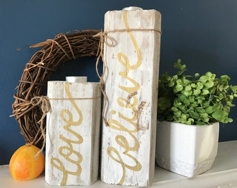Reclaimed Distressed Wood Candle Holders