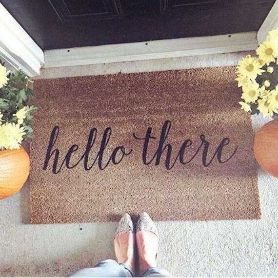 Hello there doormat door mat hand painted large coir by for Welcome home front door mats