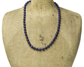 Vintage Blue Glass Bead Necklace, Long Blue Bead Necklace, Long Blue Necklace, Dark Blue Necklace