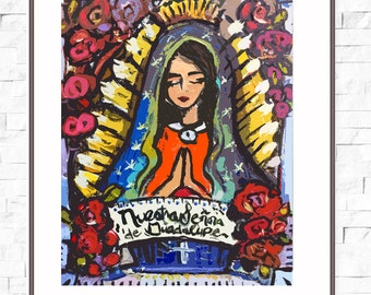 Our Lady of Guadalupe Print, roses, pretty, portrait, Nuestra Señora de Guadalupe-Bright