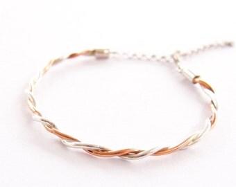 Silver and cooper bracelet, handmade bracelet, thin bracelet, metal bracelet