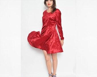 Vintage 90's Dark Red Velvet Mini Dress / Long Sleeve Velvet Dress / Full Circle Velvet Dress