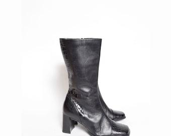 Vintage 90's Black Chunky Heel Real Leather Zipper Boots w/ Alligator Design
