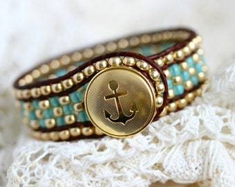 Nautical Beaded Leather Cuff Bracelet, Anchor Bracelet, Jade Green, Gold, Beaded Bracelet, Leather Wrap, Brown Leather Bracelet, Button Cuff
