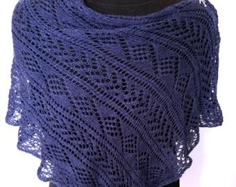 Indigo blue lace stole poncho knitted from luxurious silk-merino yarn
