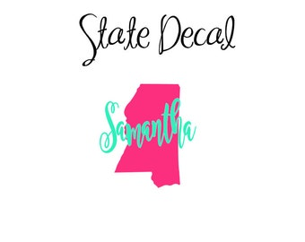 State Decal, Monogram State Decal, Home Vinyl Decal, Personalized State Decal, Car Decal, YETI Decal, Tumbler Decal