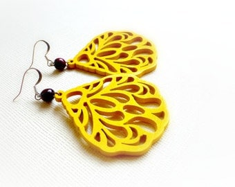 Laser cut yellow earrings  Eco earrings gift  5th Wood anniversary Wooden jewelry Carved wood earrings Painted earrings