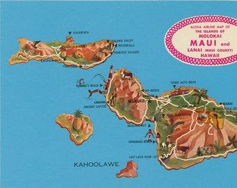 Islands of Molokai Maui and Lanai Hawaii State Map Vintage Postcard (unused)