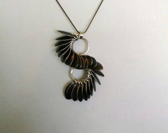 Black Scalemail and Silver Chainmaille Statement Necklace