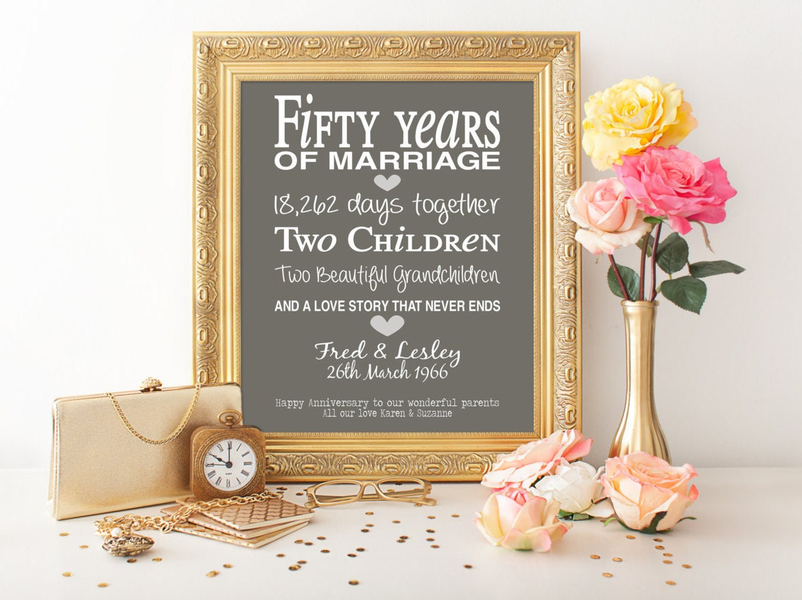 Golden Wedding Anniversary Gift Ideas For Parents : 50th anniversary gift personalised by PinkMilkshakeDesigns