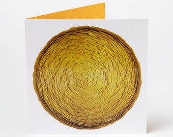 Ginkgo Greeting Card – Photo Greeting Card – Blank Inside – Yellow Envelope – Autumn – Fall – Dried Ginkgo Leaves on a Sphere – 13 x 13 cm