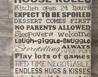 Nana's, Grandma's or Grandparents House Rules sign