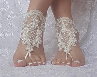 free ship bridal anklet, ivory lace anklet, Beach wedding barefoot sandals, bangle, wedding anklet, anklet, bridal, wedding