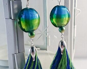 Long Dangle Earrings, Tassel Earrings, Elegant Glamour Green and Blue, Unique handmade earrings, Statement earrings, Christmas Gift for her