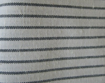 2 1/2 Yds linen ticking in white with black