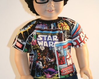 Classic Comic Book, Boy American Doll Shirt, 18 inch Boy Doll, Geeky Doll Clothes,  18 inch Doll Clothes, American Doll Girl Clothes