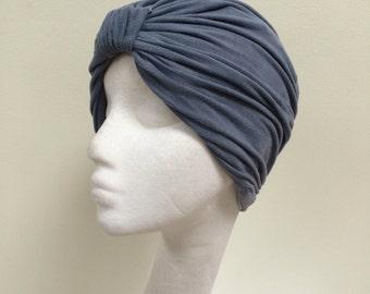 Blue turban, suede turban, lined turban, chemo cap, Head turban, Hair Snood, chemo cap