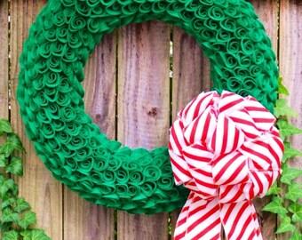 Felt Christmas Wreath, Felt Flower Wreath, Christmas Decorations, Christmas wreath with bow