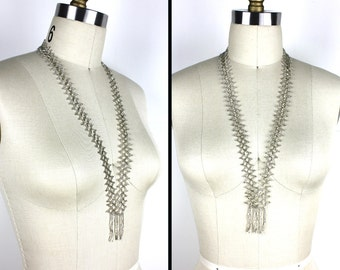 Vintage Chrochet Silver Beaded Long Necklace with Fringe