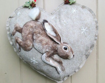 Large Heart Wreath, Needle felted Hare on Heart hanging decoration, Felted Wall Art Piece