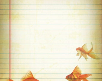 Printable Goldfish Journal Page, Goldfish Stationery, Lined Paper, 8 x 10 JPG Instant Download, Scrapbook Paper, Goldfish Digital Stationery