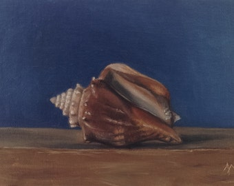 """Original oil painting: Conch shell 6x4"""""""