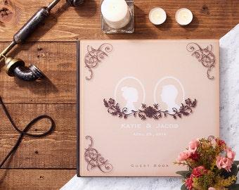 Wedding Guest Book, Alternative Guestbook, Custom Wedding Guest Book Vintage Silhouette - Crystal Acrylic Wedding Guestbook - GB#02