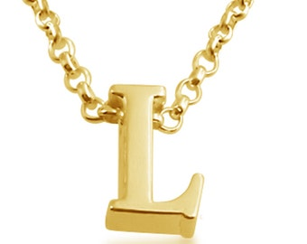 Gold l necklace etsy initial letter l personalized letters serif font charm pendant necklace 14k gold plated over 925 mozeypictures Choice Image