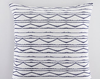 18x18 White and Indigo/Navy Zig Zag Chevron Throw Pillow, Decorative Pillow Cover