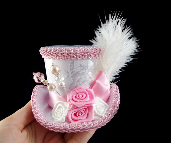 White and Pink Rose Small Mini Top Hat Fascinator, Alice in Wonderland, Mad Hatter Tea Party, Derby Hat