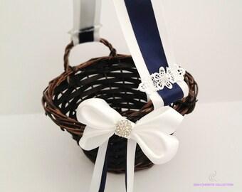 White Navy Blue Flower Girl Basket, Wedding Flower Basket, Stripes Basket, Rustic Wedding, Butterfly, Flower Basket