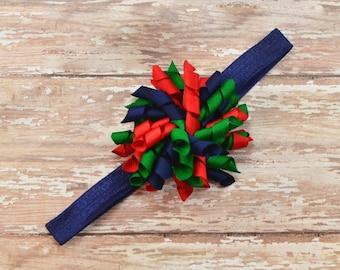 Blue Red and Green Headband, Navy Blue Headband, Korker Headband, Curly Headband, Red Headband, Uniform Headband, Christmas Headband