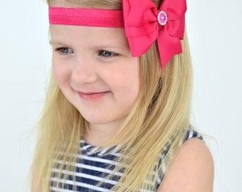 Hot Pink Bow Headband, Hot Pink Headband, Dark Pink Bow, Dark Pink Headband, Pink Flower Girl Bow, Hot Pink Hair Bow, Hot Pink Flower Girl