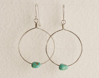 Handcrafted Chloe Earring - North American TURQUOISE with sterling silver