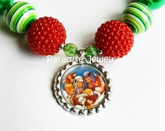 Christmas Nativity Bottle Cap Necklace, Bubblegum Beads, Chunky Beads, Child Necklace, Special Occasions, Holly Babes, Christmas Eve