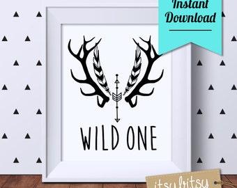 ON SALE! 25% OFF! Wild One Monochrome print, Nursery printable, nursery decor, black and white nursery print, Kids decor, Instant Download
