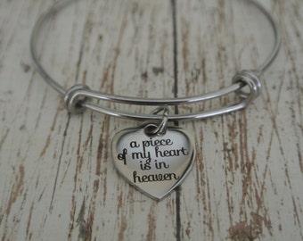 A piece of my heart is in heaven, adjustable charm bracelet. Stainless Steel. Heaven charm