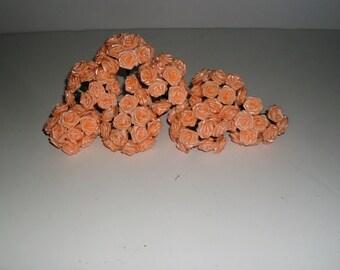 "Large Peach Ribbon Roses  Lot of 96/ 1"" in diameter Scrapbooking, wedding Flowers FS6026"