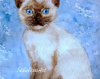Custom Cat Full Body Custom Pet Portrait Cat Painting Watercolor Cat Cat Art Cat Lover Gift Animal Portrait Watercolor Original