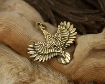 Soaring raven bronze pendant necklace bird fantasy