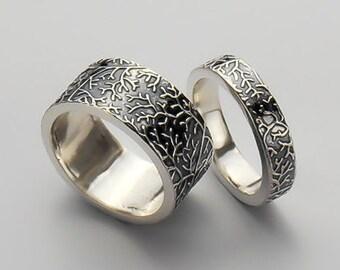 Wedding Band Set - Bridal Set - Matching Wedding Bands - Fine Branch wedding bands - His & Hers wedding Ring - Engraved Wedding Bands